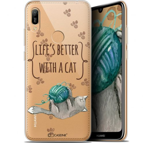 """Carcasa Gel Extra Fina Huawei Y6 2019 (6.1"""") Quote Life's Better With a Cat"""