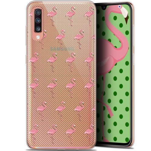 "Carcasa Gel Extra Fina Samsung Galaxy A70 (6.7"") Pattern Les flamants Roses Dots"