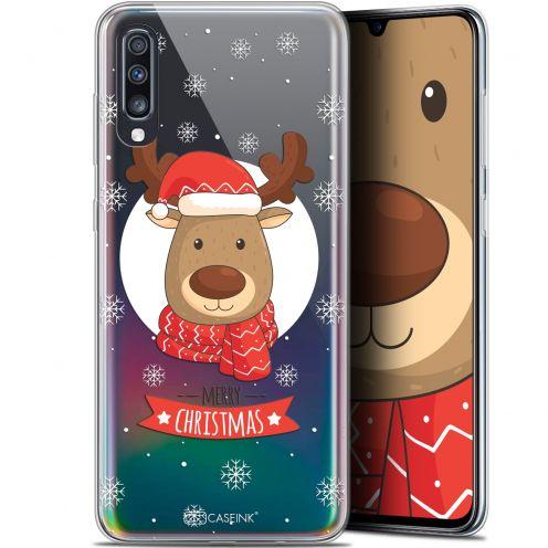 "Carcasa Gel Extra Fina Samsung Galaxy A70 (6.7"") Noël 2017 Cerf à Echarpe"
