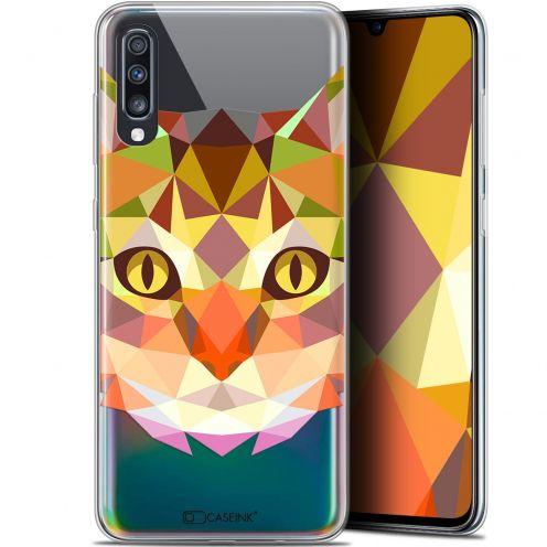 "Carcasa Gel Extra Fina Samsung Galaxy A70 (6.7"") Polygon Animals Gato"