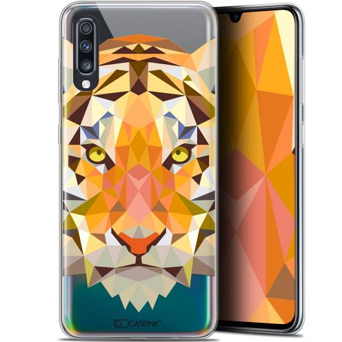 "Carcasa Gel Extra Fina Samsung Galaxy A70 (6.7"") Polygon Animals Tigre"