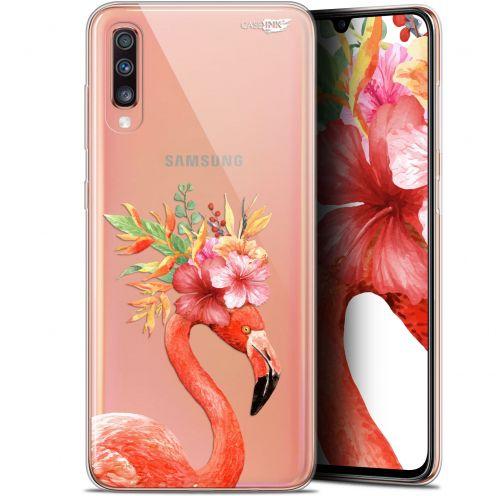 "Carcasa Gel Extra Fina Samsung Galaxy A70 (6.7"") Design Flamant Rose Fleuri"