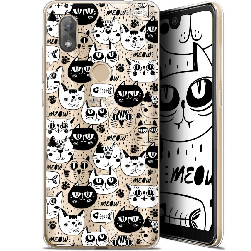 """Carcasa Gel Extra Fina Wiko View 2 (6"""") Design Chat Noir Chat Blanc"""