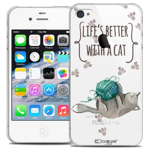 Carcasa Crystal Extra Fina iPhone 4/4s Quote Life's Better With a Cat