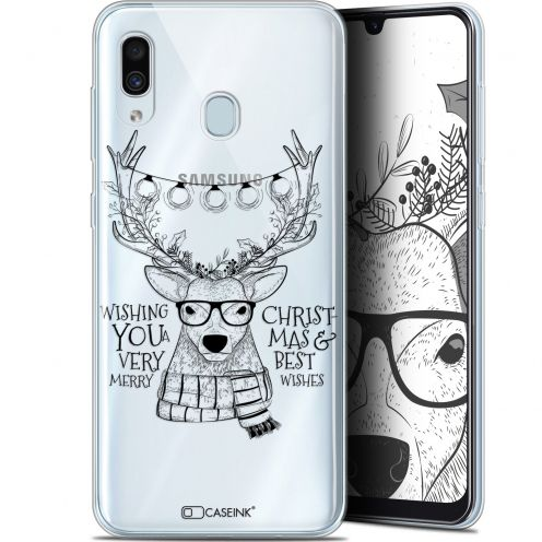 "Carcasa Gel Extra Fina Samsung Galaxy A30 (6.4"") Noël 2017 Cerf Hipster"