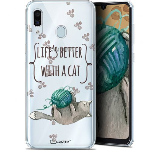 "Carcasa Gel Extra Fina Samsung Galaxy A30 (6.4"") Quote Life's Better With a Cat"