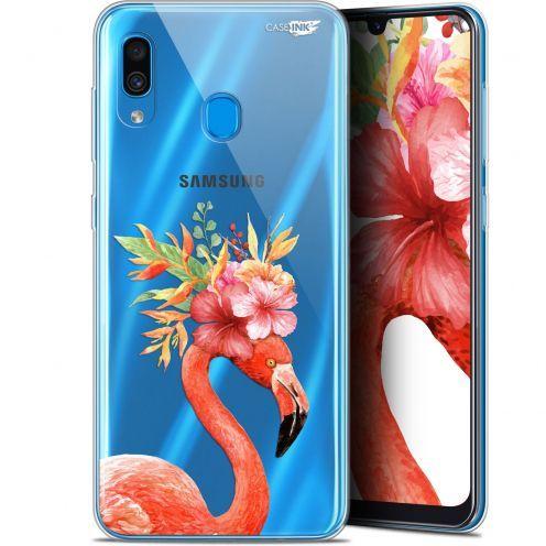"Carcasa Gel Extra Fina Samsung Galaxy A30 (6.4"") Design Flamant Rose Fleuri"