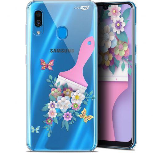 "Carcasa Gel Extra Fina Samsung Galaxy A30 (6.4"") Design Pinceau à Fleurs"