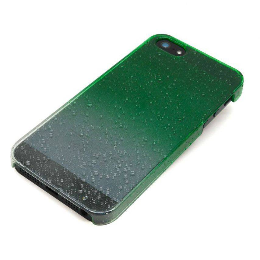 Las gotas de lluvia las gotas de agua iPhone 5 del casco verde