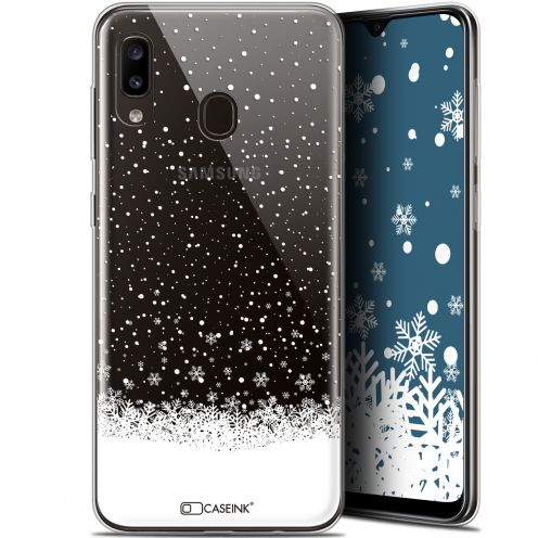 "Carcasa Gel Extra Fina Samsung Galaxy A20 (6.4"") Noël 2017 Flocons de Neige"