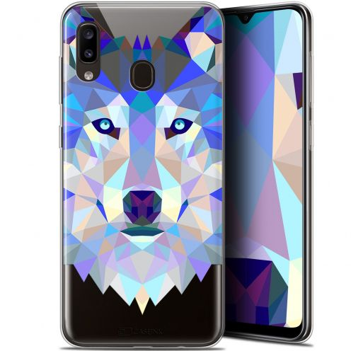 "Carcasa Gel Extra Fina Samsung Galaxy A20 (6.4"") Polygon Animals Lobo"