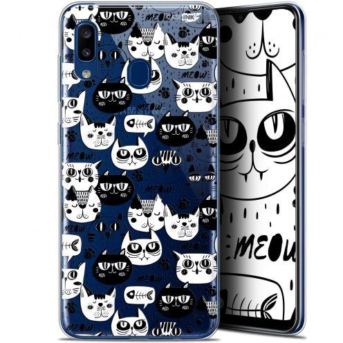 "Carcasa Gel Extra Fina Samsung Galaxy A20 (6.4"") Design Chat Noir Chat Blanc"