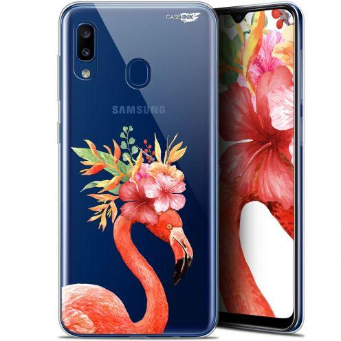 "Carcasa Gel Extra Fina Samsung Galaxy A20 (6.4"") Design Flamant Rose Fleuri"