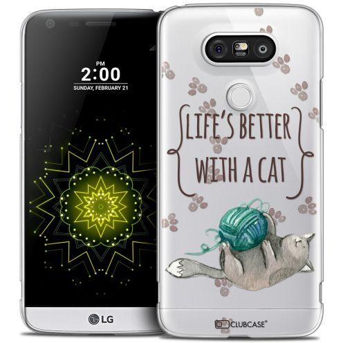 Carcasa Crystal Extra Fina LG G5 Quote Life's Better With a Cat