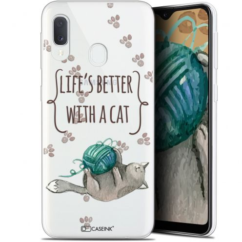 "Carcasa Gel Extra Fina Samsung Galaxy A20E (5.8"") Quote Life's Better With a Cat"