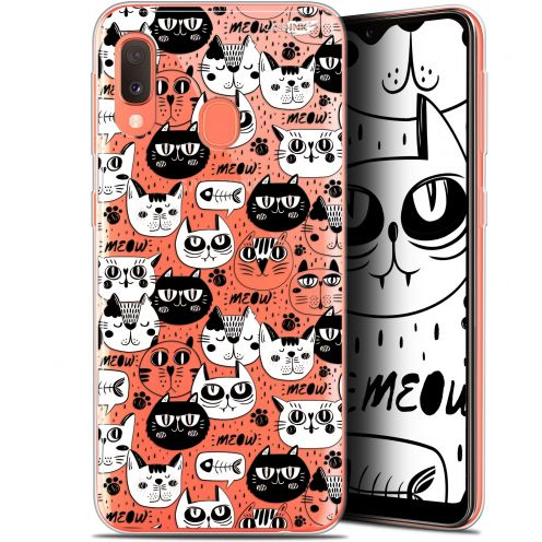 "Carcasa Gel Extra Fina Samsung Galaxy A20E (5.8"") Design Chat Noir Chat Blanc"
