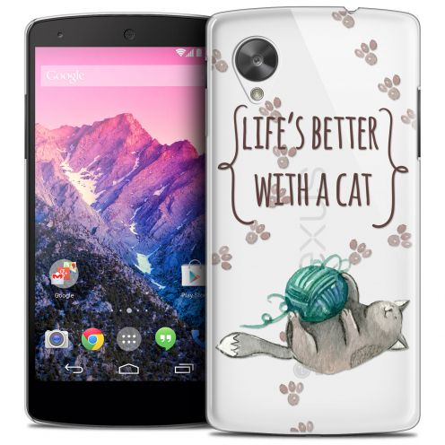 Carcasa Crystal Extra Fina Nexus 5 Quote Life's Better With a Cat