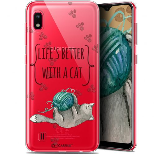 "Carcasa Gel Extra Fina Samsung Galaxy A10 (6.2"") Quote Life's Better With a Cat"