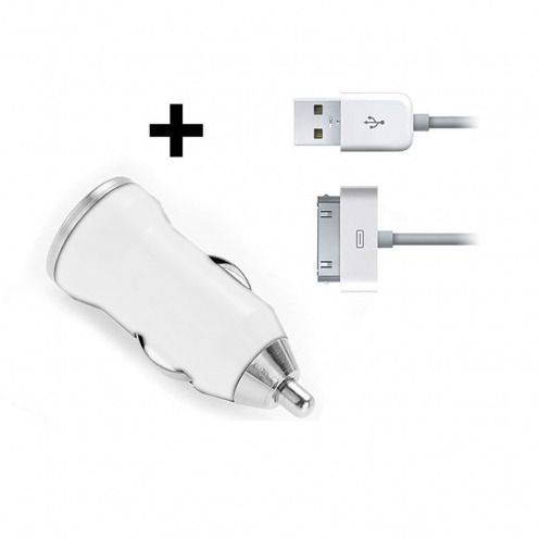 Mini Cargador Coche / mechero USB con Cable de Datos Blanco iPhone 3G/S/4/S