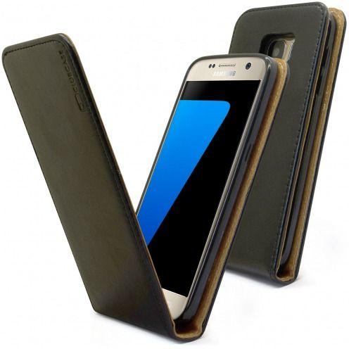 Funda Italia Flippara Samsung Galaxy S7 Cuero AuténticoNegro
