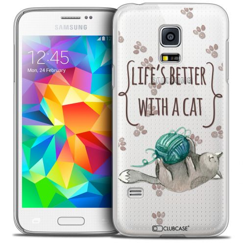 Carcasa Crystal Extra Fina Galaxy S5 Mini Quote Life's Better With a Cat