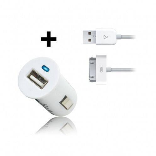 Cargador de coche micro / encendedor Cable USB datos blanco iPhone 3 G/S/4 Mbps