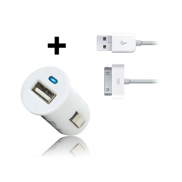ba7278ab923 Cargador de coche micro / encendedor Cable USB datos blanco iPhone 3 G/S/