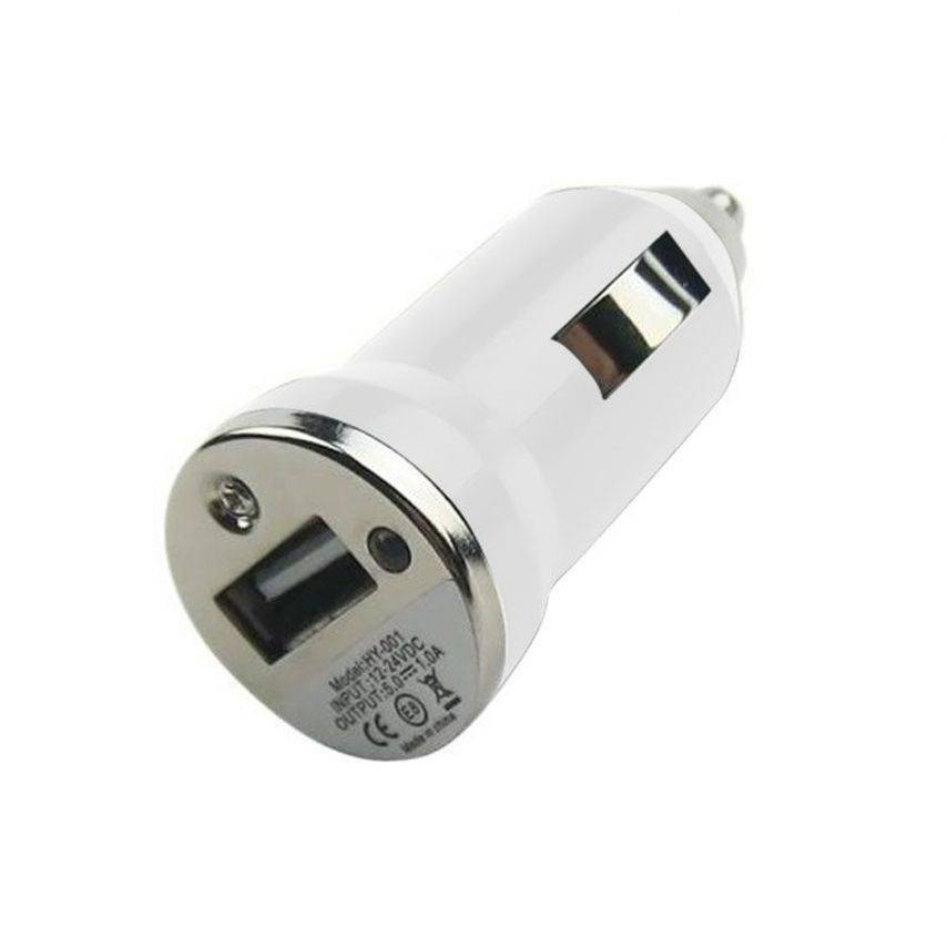 Mini cargador de coche / cigarrillo encendedor USB blanco