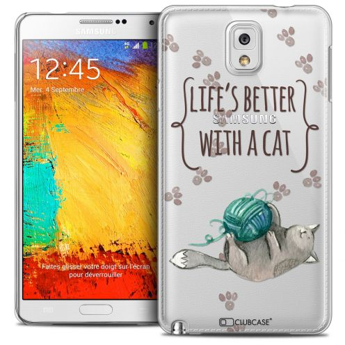 Carcasa Crystal Extra Fina Galaxy Note 3 Quote Life's Better With a Cat