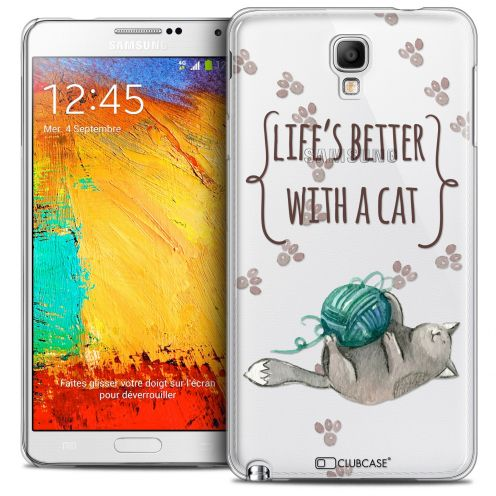 Carcasa Crystal Extra Fina Galaxy Note 3 Neo/Mini Quote Life's Better With a Cat
