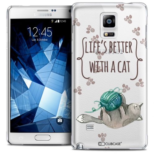 Carcasa Crystal Extra Fina Galaxy Note 4 Quote Life's Better With a Cat