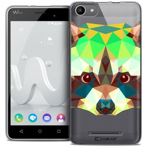 Carcasa Crystal Gel Extra Fina Wiko Jerry Polygon Animals Mapache