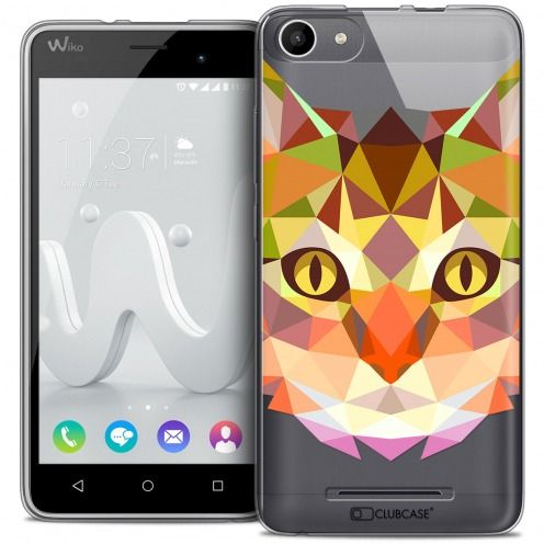 Carcasa Crystal Gel Extra Fina Wiko Jerry Polygon Animals Gato
