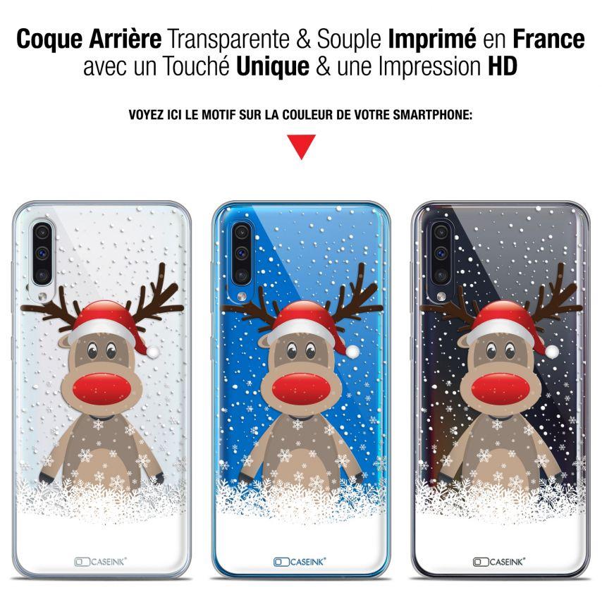"""Carcasa Gel Extra Fina Samsung Galaxy A50 (6.4"""") Noël 2017 Cerf au Bonnet"""