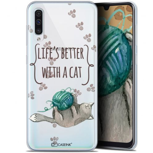 "Carcasa Gel Extra Fina Samsung Galaxy A50 (6.4"") Quote Life's Better With a Cat"