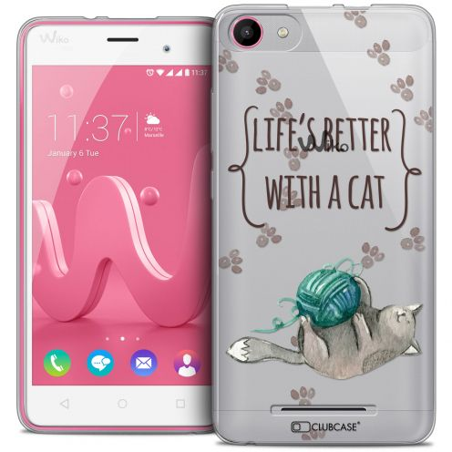 Carcasa Crystal Gel Extra Fina Wiko Jerry Quote Life's Better With a Cat