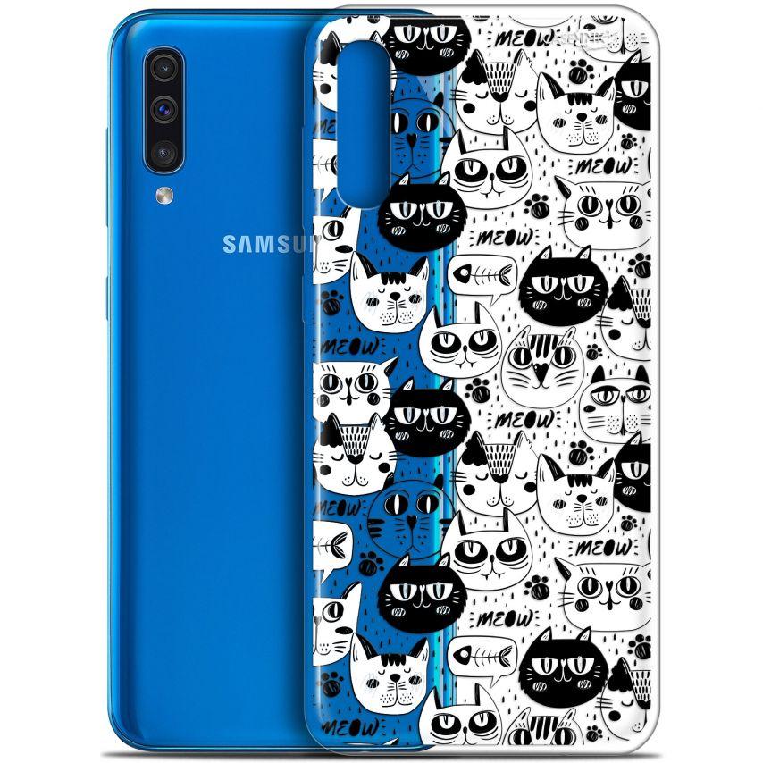 "Carcasa Gel Extra Fina Samsung Galaxy A50 (6.4"") Design Chat Noir Chat Blanc"