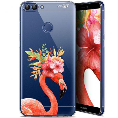 "Carcasa Gel Extra Fina Huawei P Smart (5.7"") Design Flamant Rose Fleuri"