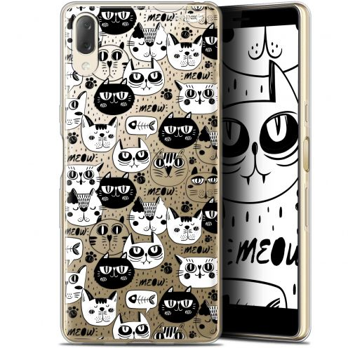 "Carcasa Gel Extra Fina Sony Xperia L3 (5.7"") Design Chat Noir Chat Blanc"