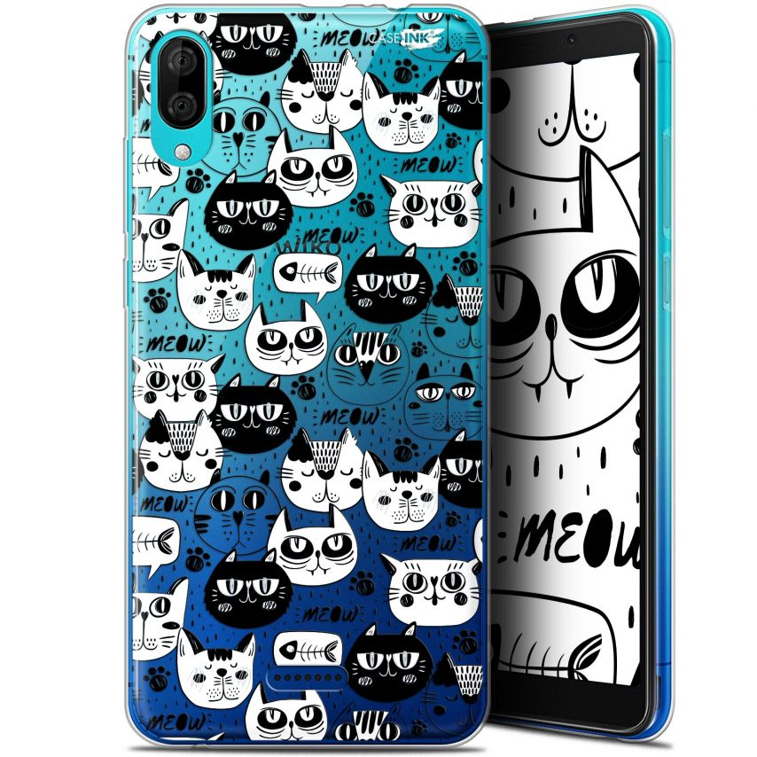 "Carcasa Gel Extra Fina Wiko Y80 (6"") Design Chat Noir Chat Blanc"