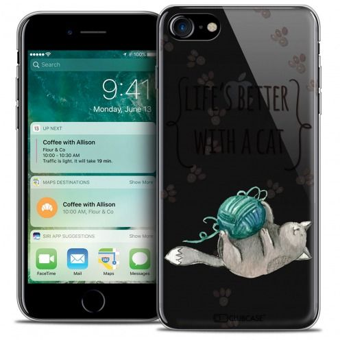 """Carcasa Crystal Gel Extra Fina Apple iPhone 7 (4.7"""") Quote Life's Better With a Cat"""