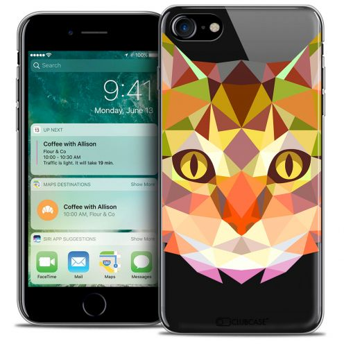 "Carcasa Crystal Gel Extra Fina Apple iPhone 7 (4.7"") Polygon Animals Gato"