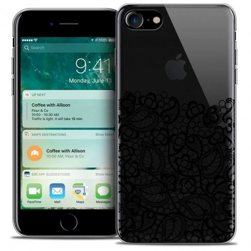 "Carcasa Crystal Gel Extra Fina Apple iPhone 7 (4.7"") Spring Bas dentelle Noir"