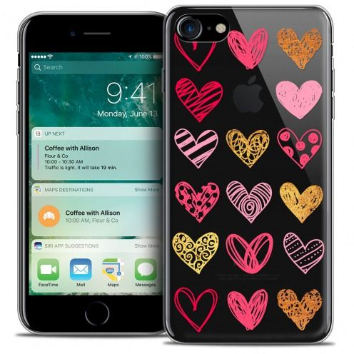 "Carcasa Crystal Gel Extra Fina Apple iPhone 7 (4.7"") Sweetie Doodling Hearts"