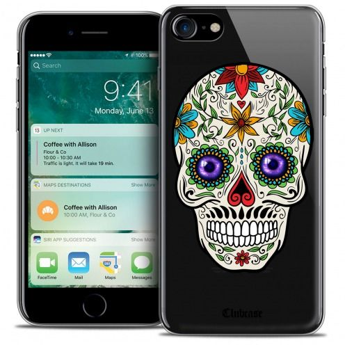 "Carcasa Crystal Gel Extra Fina Apple iPhone 7 (4.7"") Skull Maria's Flower"