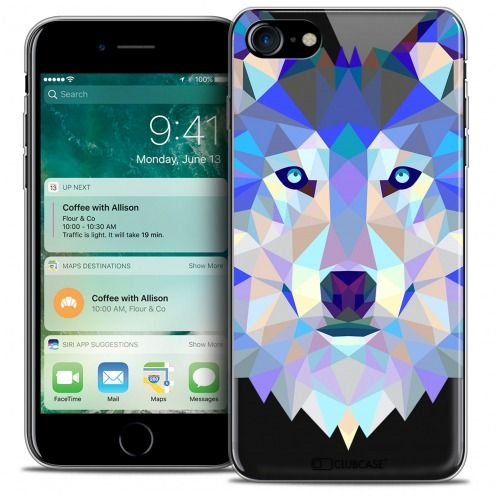 "Carcasa Crystal Gel Extra Fina Apple iPhone 7 (4.7"") Polygon Animals Lobo"