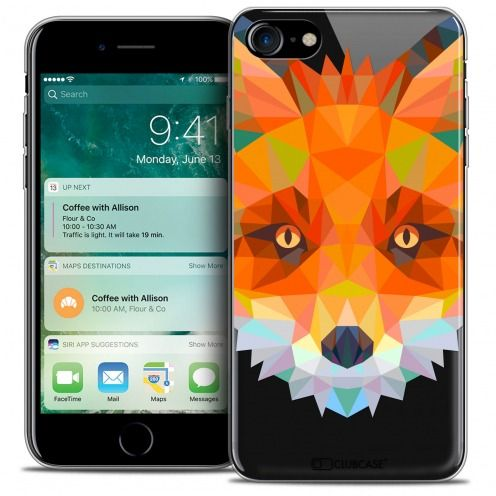 "Carcasa Crystal Gel Extra Fina Apple iPhone 7 (4.7"") Polygon Animals Zorro"
