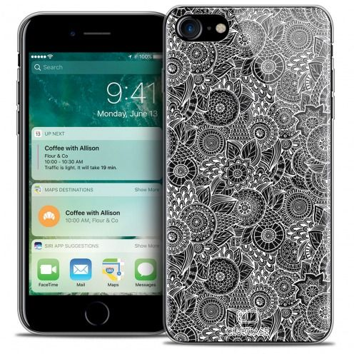 "Carcasa Crystal Gel Extra Fina Apple iPhone 7 (4.7"") Colección Encaje de Flores - Blanco"