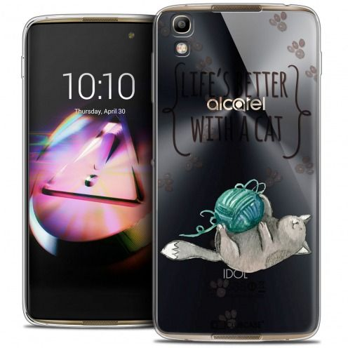 Carcasa Crystal Gel Extra Fina Alcatel Idol 4 Quote Life's Better With a Cat