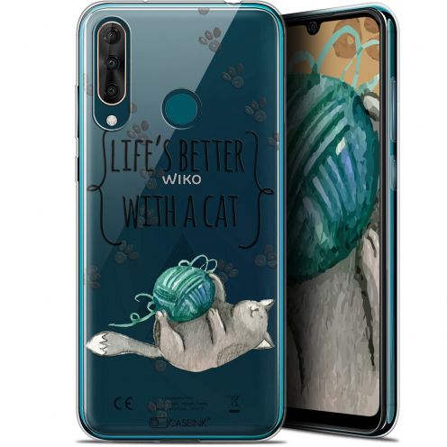 "Carcasa Gel Extra Fina Wiko View 3 PRO (6.3"") Quote Life's Better With a Cat"